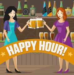 two girls toasting with craft beer on irish pub poster
