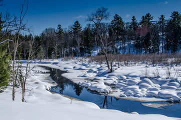 Creek winding through winter scene in the country