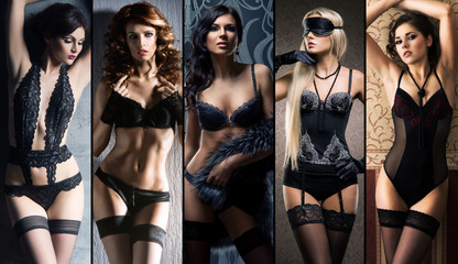 Collage of sexy women posing in lingerie