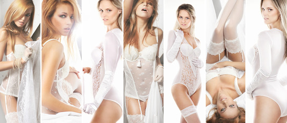 Collection of sexy brides in alluring lingerie