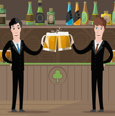 bussiness men toasting with beer in irish pub