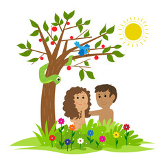 Adam and Eve - Cute clip art of Adam and Eve sitting under a tree in the garden of Eden. Eps10