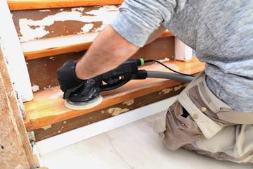 Foto op Plexiglas Trappen Alte Holztreppe wird renoviert (Old wooden staircase is getting refurbished)