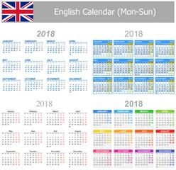 2018 English Mix Calendar Mon-Sun on white background