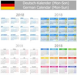 2018 German Mix Calendar Mon-Sun on white background