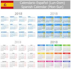 2018 Spanish Mix Calendar Mon-Sun on white background