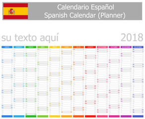 2018 Spanish Planner Calendar with Vertical Months on white background