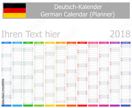 """""""2018 German Planner Calendar With Vertical Months On White Background"""" Stock Image And Royalty"""