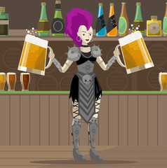 heavy metal punk girl with two beers