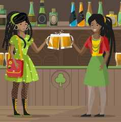 african reggae girls drinking toasting in pub with beer