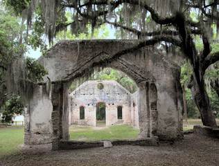 The ruins of the Chapel of Ease on St. Helena Island in South Carolina.