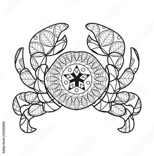 Vector Illustration Of A Crab Mandala For Coloring Book Granchio Da Colorare Vettoriale