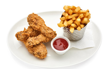 hot fried chicken wings in basket isolated on white background..