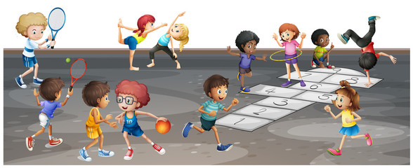Many children playing different sports