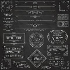 Set of Vintage Calligraphic Design Elements.  Chalk Typography Design on Blackboard