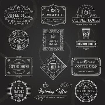 Set of Vintage Retro Coffee Badges and Labels. Chalk Typography Design on Blackboard