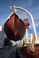 Close-up of a lifeboat in Nyhavn, Copenhagen, Denmark
