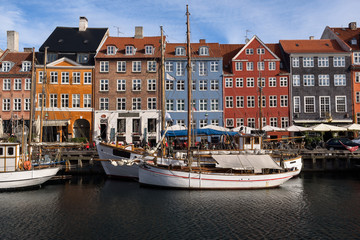Colorful houses at the canals of Nyhavn in Copenhagen, Denmark