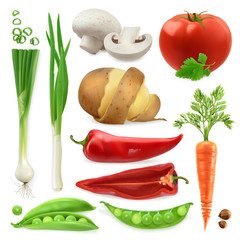Realistic vegetables. Potato, tomato, green onions, peppers, carrot and pea pod. Isolated 3d vector icon set