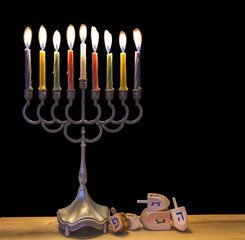 Jewish menorah with glitter lights of candles is traditional symbol for Jewish Hanukkah Holiday