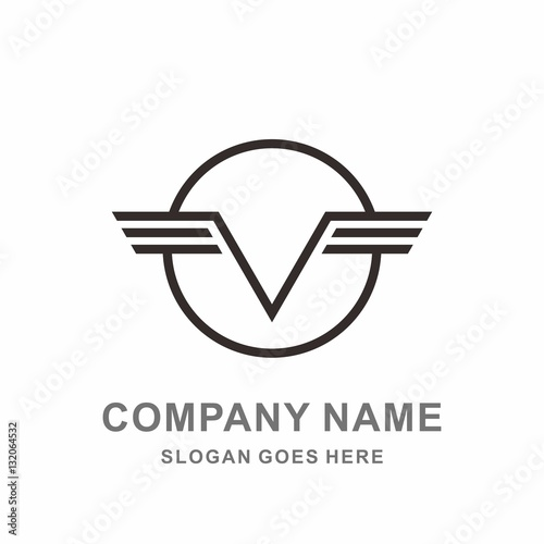 u0026quot monogram letter v geometric circle strips wings