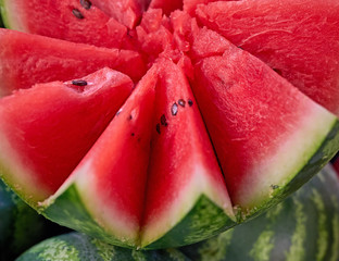 star shaped cut watermelon closeup