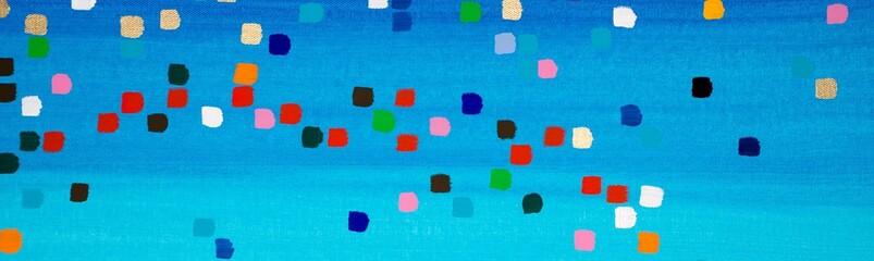 Blauer Hintergrund mit bunten Punkten / Kästchen in Grün, Gelb, Weiß, Schwarz, Rot, Rosa, Gold und Türkis, Gouache, als Hintergrund