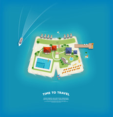 Top view of the island in the form of a shorts. Time to travel and vacations poster. Holiday trip. Travel and tourism.
