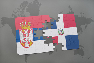 puzzle with the national flag of serbia and dominican republic on a world map