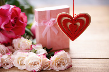 Heart shape, gift box and roses