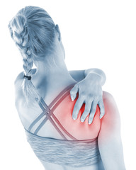 Acute pain in a woman shoulder.