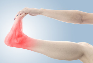 Pain in the foot. Massage of female feet.