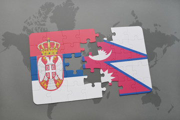 puzzle with the national flag of serbia and nepal on a world map