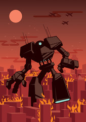 Giant Robot / Giant robot walking in city.
