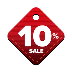 Sale ten percent pricetag red vector