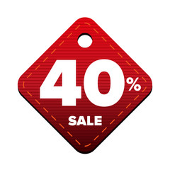 Sale fourty percent pricetag red vector