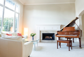 Living room decorated with leather sofa and piano with fireplace