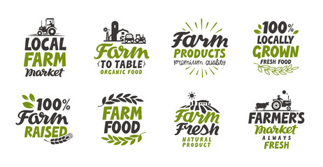 Farm icons set. natural, organic food. Symbol vector illustration Wall mural