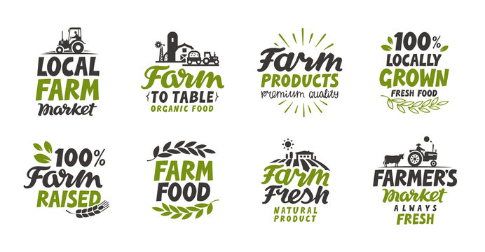 Farm icons set. natural, organic food. Symbol vector illustration