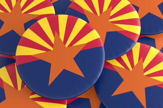 US State Buttons: Pile of Arizona Flag Badges, 3d illustration