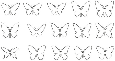 Set of line silhouettes of butterflies.