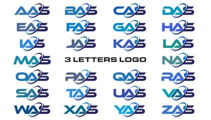 3 letters modern generic swoosh logo AAS, BAS, CAS, DAS, EAS, FAS, GAS, HAS, IAS, JAS, KAS, LAS, MAS, NAS, OAS, PAS, QAS, RAS, SAS, TAS, UAS, VAS, WAS, XAS, YAS, ZAS