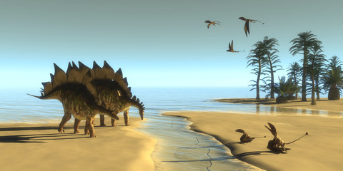 Stegosaurus Dinosaur Morning - Dimorphodon carnivorous reptiles fly over two Stegosaurus dinosaurs coming down to a steam to drink.