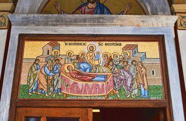 Mosaic at the entrance of the church in Athens, Greece with the Holy sepulcher Jesus scene