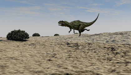 3d illustration of the running yangchuanosaurus