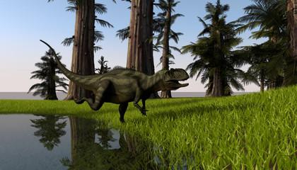 3d illustration of the running yangchuanosaurus
