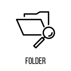 Folder icon or logo in modern line style.