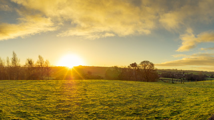 Foto auf Acrylglas Melone panoramic view of Northern Ireland countryside morning sunrise