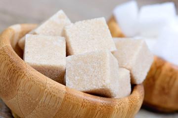 Sugar cubes in a bamboo bowls