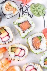 Sushi set on a white table